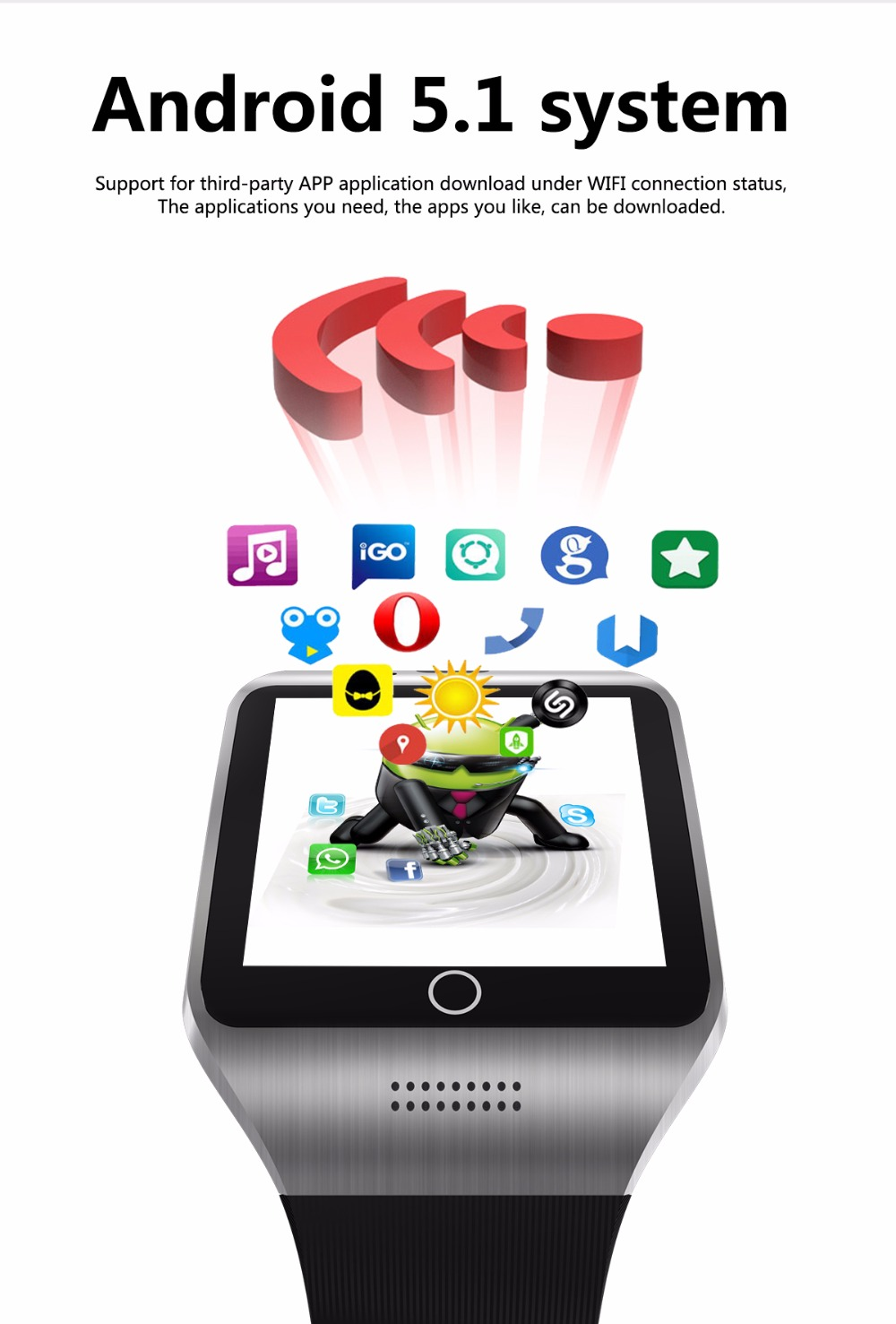 3G WIFI GPS bluetooth smart watch V88 Android 5 1 MTK6572 CPU 1 52 inch  5 0MP camera smartwatch for iphone huawei phone watch