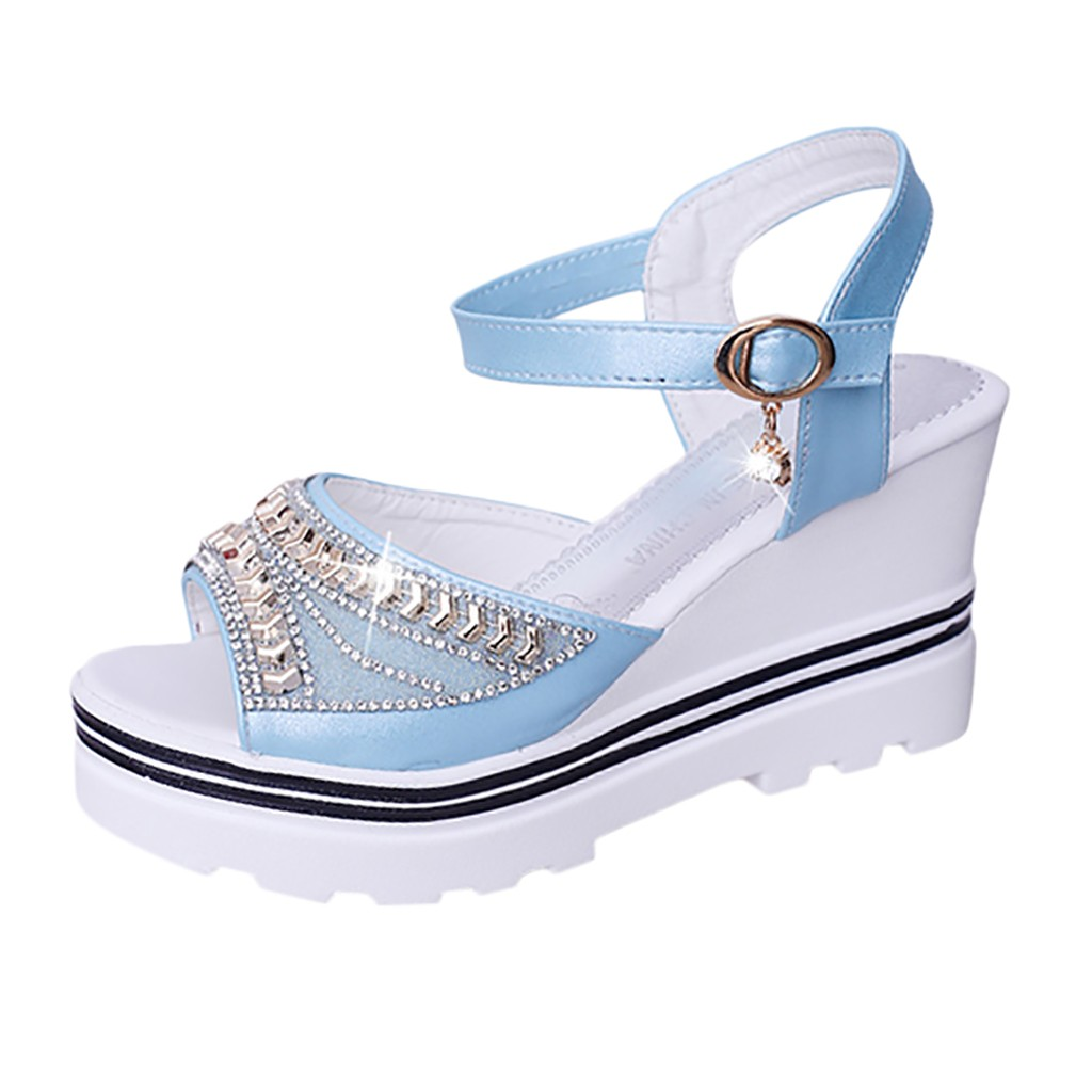HTB1wtW.UAvoK1RjSZFwq6AiCFXaN - SAGACE Women Thick Bottom Sandals Wedges Sandals Shoes For Women Fashion Women Summer Wedge Heel Open Toe Buckle Strap Sandals