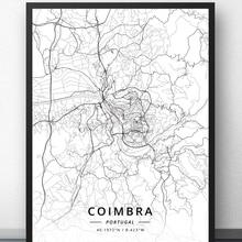 Cartel de mapa de Coimbra Lisbon oto Portugal