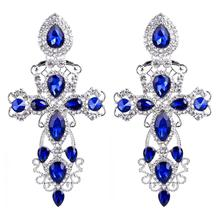 Luxury Gorgeous Blue Crystal Stone Cross Pendant Earrings for Women Baroque Fashion Drops Dangle Big Earring Jewelry
