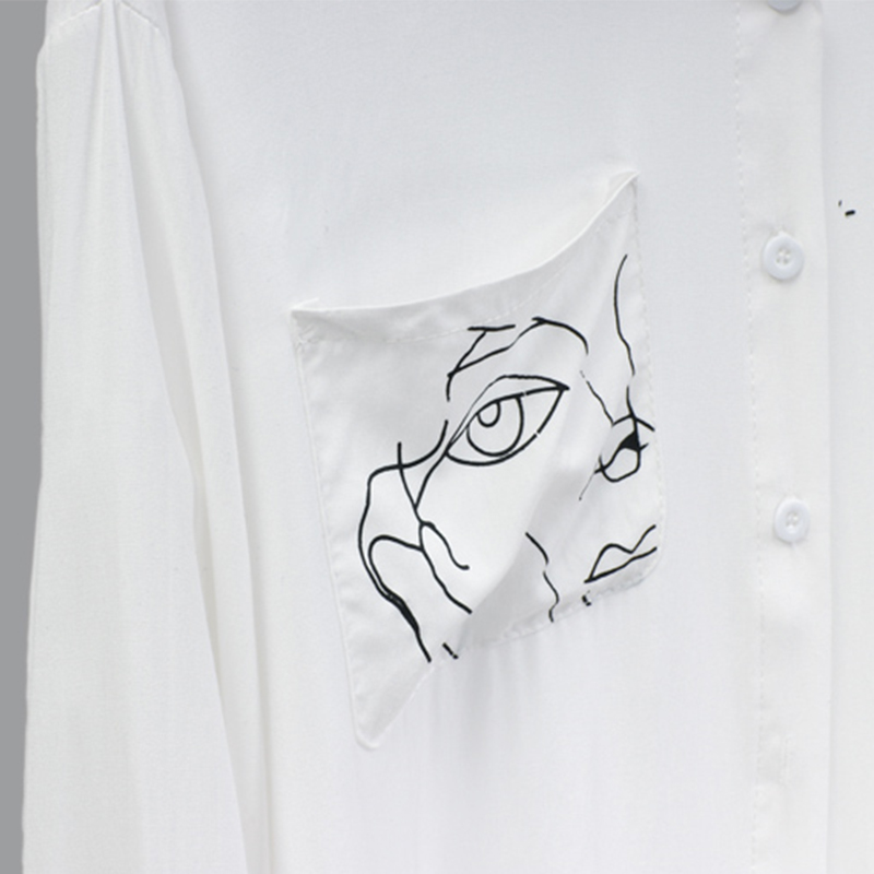 2019 Fashion High Street  Women Shirt Long Length Turn-down Collar Autumn Spring Female Shirt Top Clothes