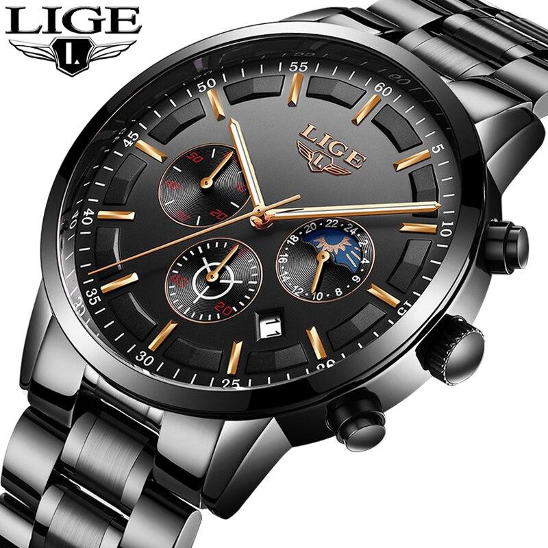 Relogio Masculino de LIGE Hommes Montres Top Marque De Luxe De Mode D'affaires montres à quartz Hommes Sport En Acier Plein montre waterproof