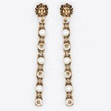 Charmcci Trendy Cool Lion Head Big Long Drop Fashion Dangle Pearls Earrings for Women ,