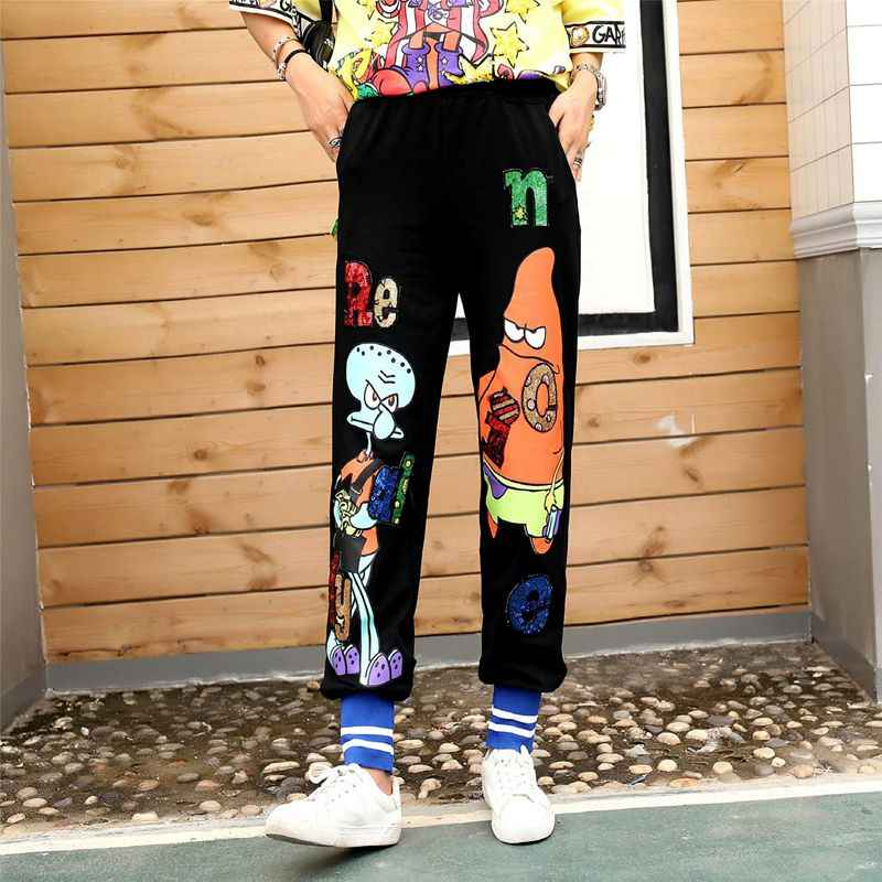 European station 2019 summer new wave black white cartoon print sequin letter elastic waist casual sweater women