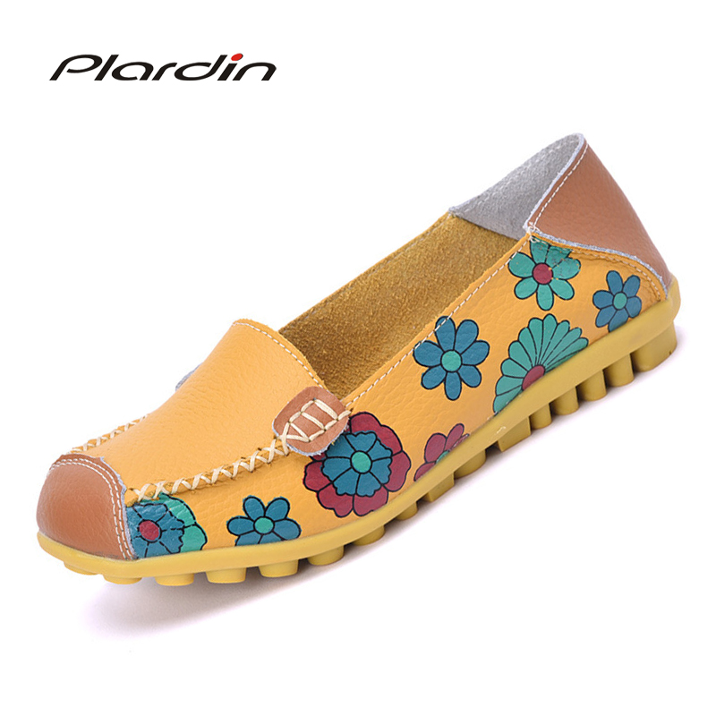 plardin 2018 Appliques Ballet Summer Flower Print Women Genuine Leather Shoes Woman Flat Flexible Nurse Peas Loafer Flats flower print flat sliders
