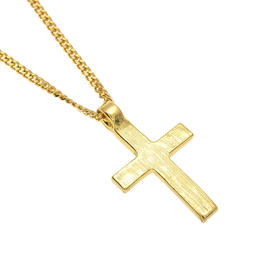 Hip Hop paduan warna emas lintas liontin kalung, Agama es berlian - Perhiasan fashion - Foto 3