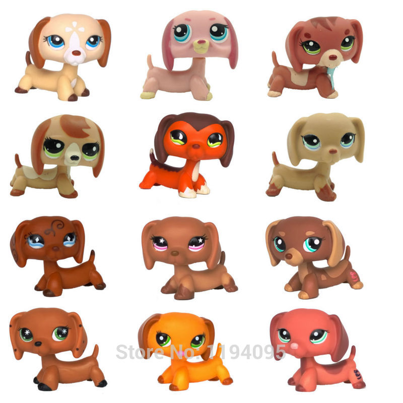 pet shop toys original Dachshund Rare dog Collection #675 #640 #556 #325 sausage puppy cute animal action figure pet shop toys dachshund 932 bronw sausage dog star pink eyes