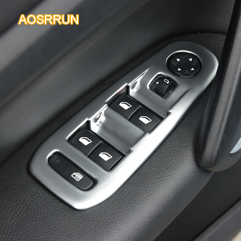 AOSRRUN ABS Chrome trim window lifter switch decoration Cover Car Accessories For Peugeot 308 hatchback GT SW 2015 2016 T9 for peugeot 207 sw estate wk