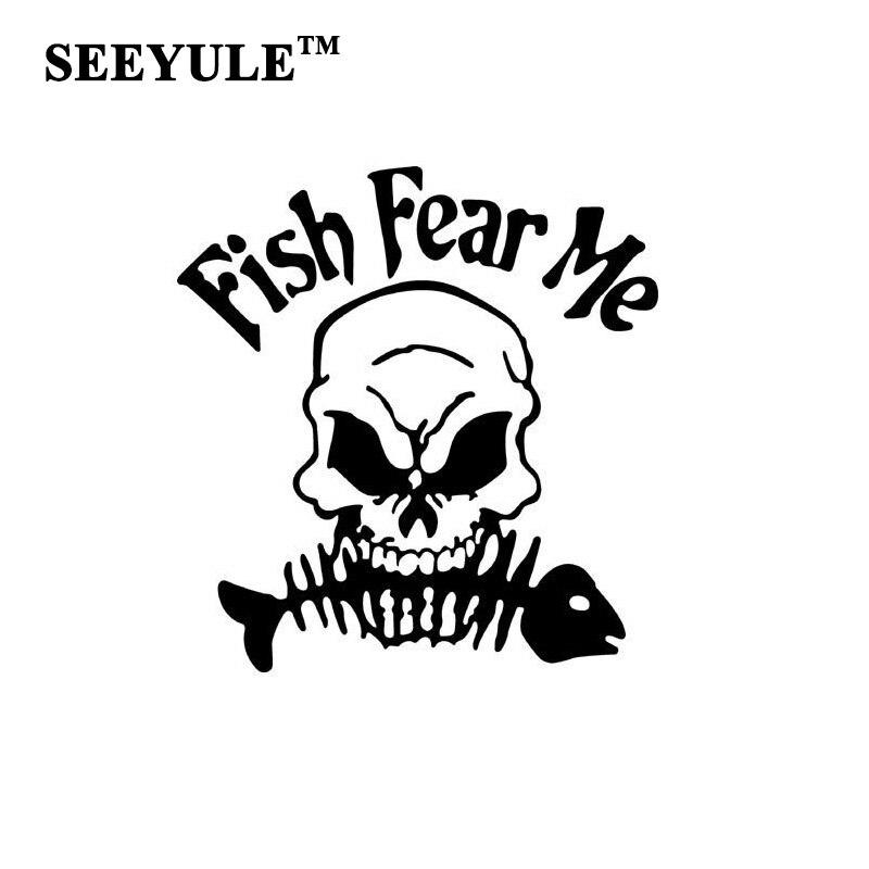 1pc SEEYULE Fish Fear Me Car Stickers Skull Head Bite Fish