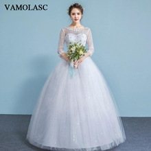 VAMOLASC Illusion Crystal O Neck Ball Gown Lace Appliques Wedding Dresses Three Quarter Sleeve Backless Bridal Gowns