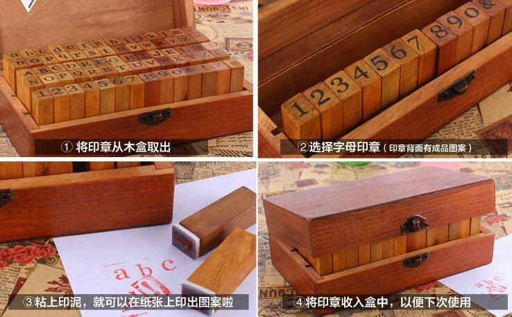 70pcs/set Vintage DIY Multi Purpose Regular Script Number Lowercase Alphabet Letter Decoration Wood Rubber Stamps Set Wooden Box 5d diy 70 55