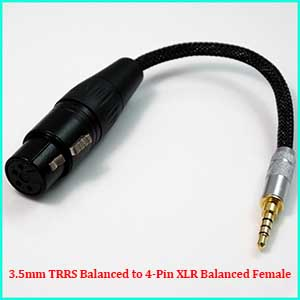 3.5mm Stereo Male to 4-Pin XLR Female Balanced TRS Headphone Adapter 8 cores Litz geometry braid 5N PCOCC Silver plated Cable