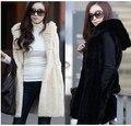 Сумасшедший скидка женщин искусственного меха жилет зимний длинный жилет без рукавов люкс шуба пальто Большой размер тонкий меховой жилет
