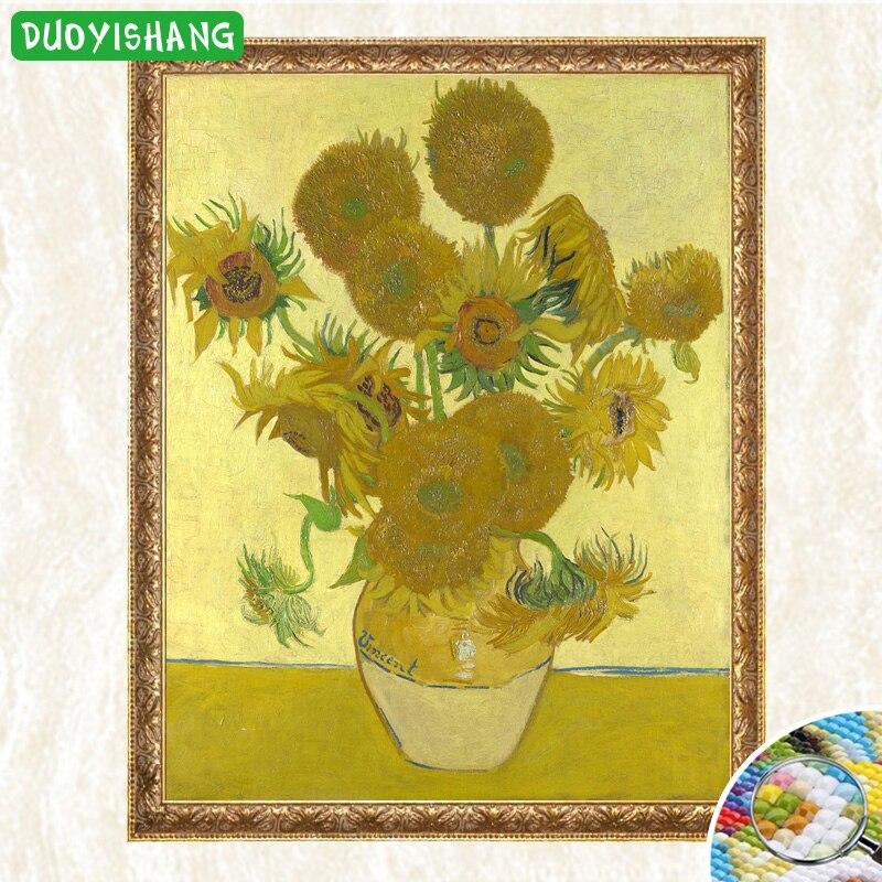 Картины Ван Гога пятнадцать подсолнухов в вазе 5D DIY Алмазная картина полностью