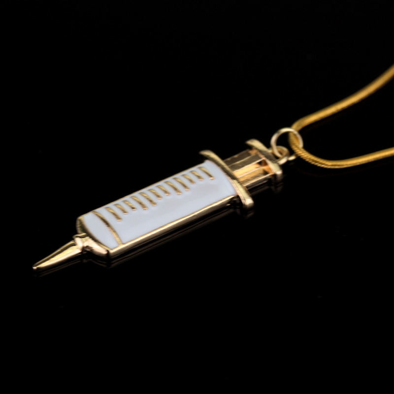 SC HOT SELL Medical Stethoscope Syringe Necklaces for Murse Doctor Heart Collar Chain Necklace Women Jewelry in Pendant Necklaces from Jewelry Accessories