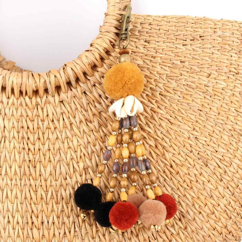 1 pieza joyería Boho llavero conchas de madera aleación pompón encanto llaveros accesorios bohemios para mujer bolso de playa