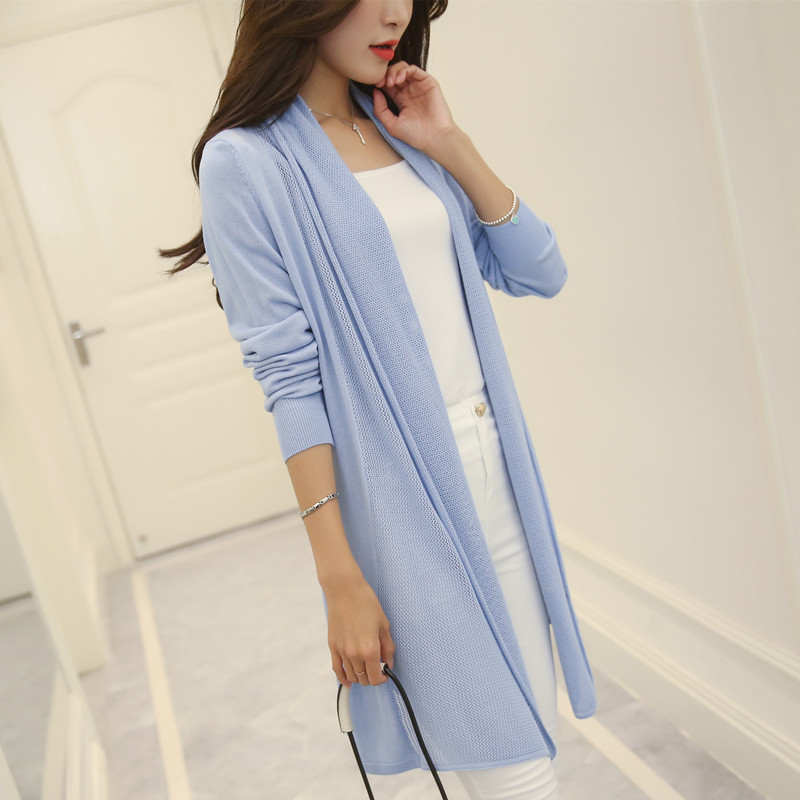 2018 The new spring and summer Korean women slim long sweater cardigan coat female F1162