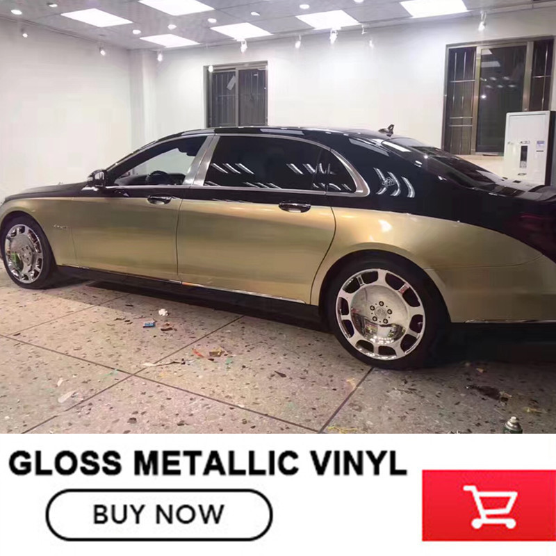 Brillant vinyle champagne or brillant métallique vinyle wrap Rouleau Pour voiture 1.52x20 m/Rouleau 5ftx65ft vinil wrap
