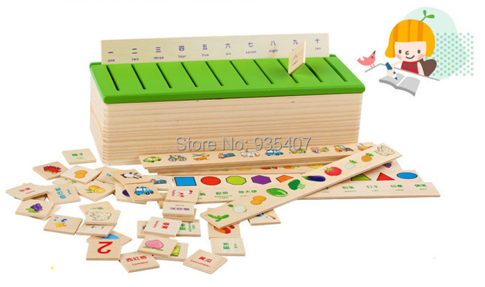 New wooden toy know ledge category boxes Baby toy