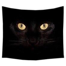 Черный Рисунок кота гобелен настенный подвешиваемый Подгонянный покрывало простыни покрывало для опочивальни домашний настенный арт коврик для комнаты