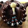 Reais contas de Jacarandá natural black onyx pulseiras em Tibetano sândalo contas de oração pulseira homens jóias pulseira 0429