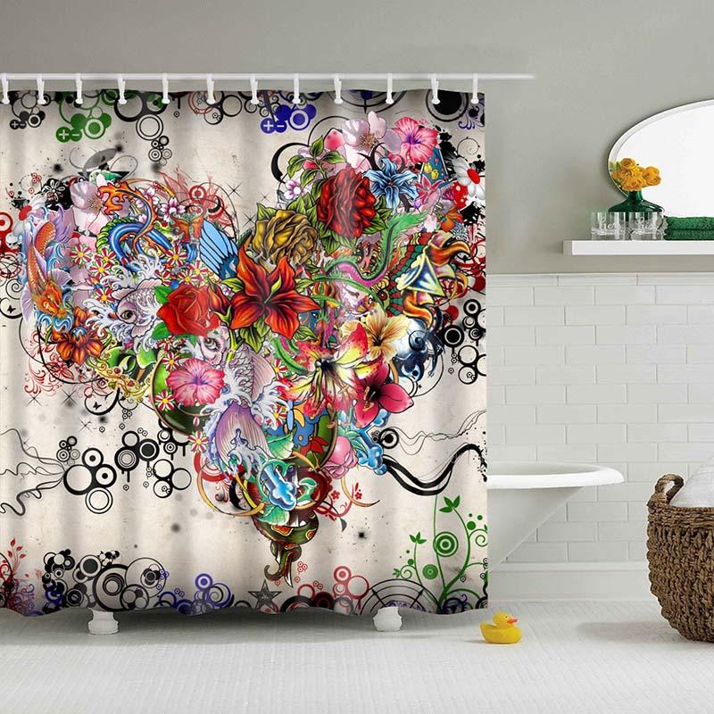 Premium Indian Mandala Flower Shower Curtains For Bathroom 12 Different Designs Trendy Curtains