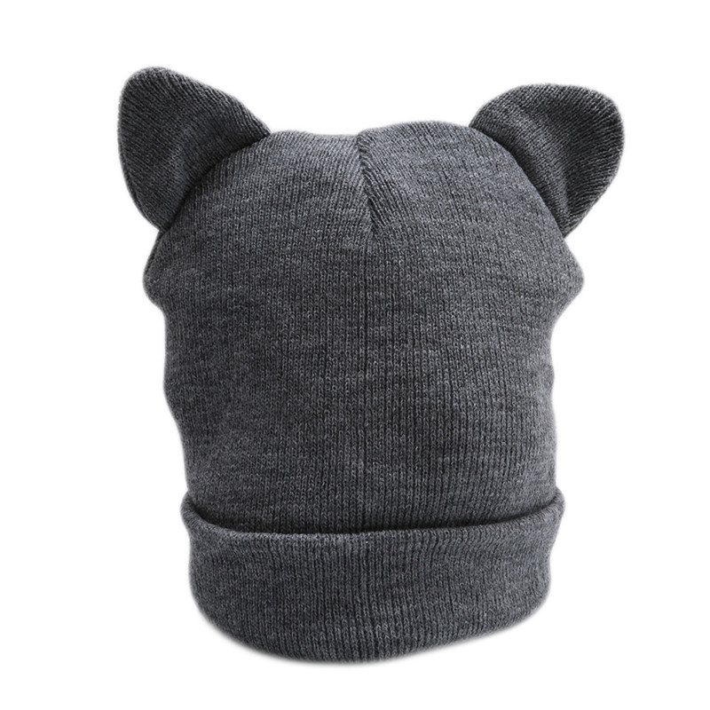 Winter Warm Lovely Casual   Skullies     Beanies   Hat Hot Fashion Design Wool Cap Hat Gray White Cute Cat Ears Knitted Hat