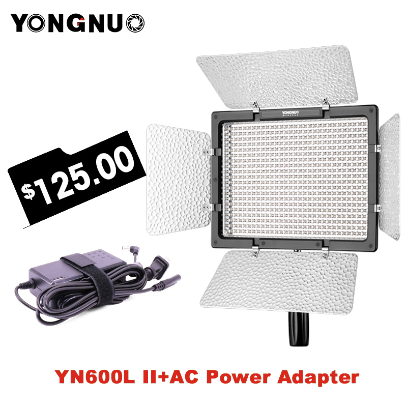 Yongnuo YN600L II 3200K-5500K LED Video Light with Falcon Eyes AC Adapter Set Support Remote Control by Phone App for Interview студийная вспышка falcon eyes ss 110bj