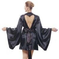 Brand Japanese Kimono Robes Sexy Heart Cut Out Back Black Satin Kimono Robes For Women Chinese