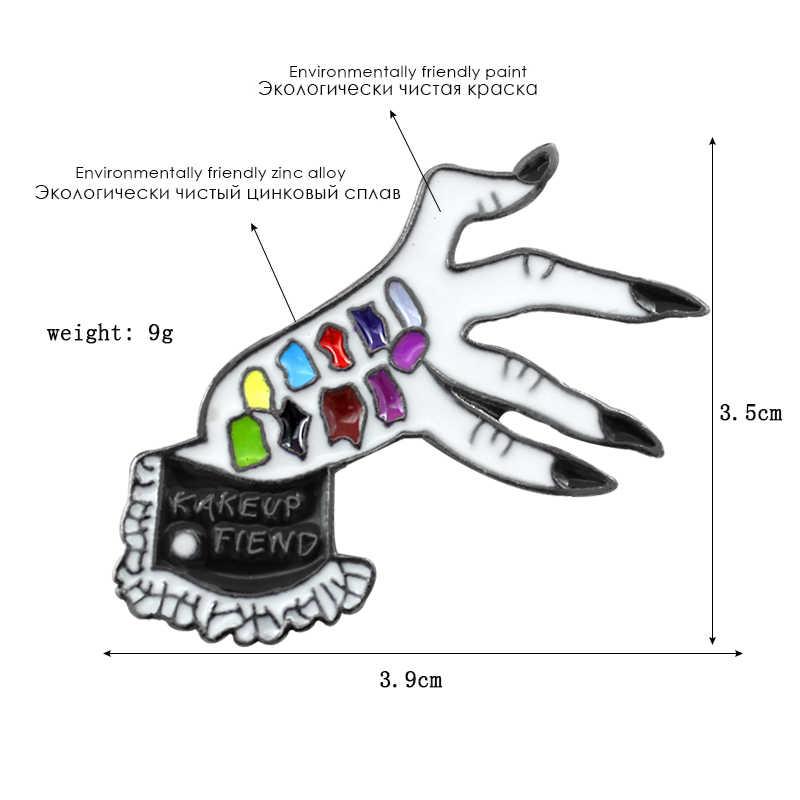 Два цвета Дьявол Руки брошь макияж Fiend витой руки Скелет Нагрудный значок покрытый эмалью джинсовый значок для рюкзака Хэллоуин вечерние подарки