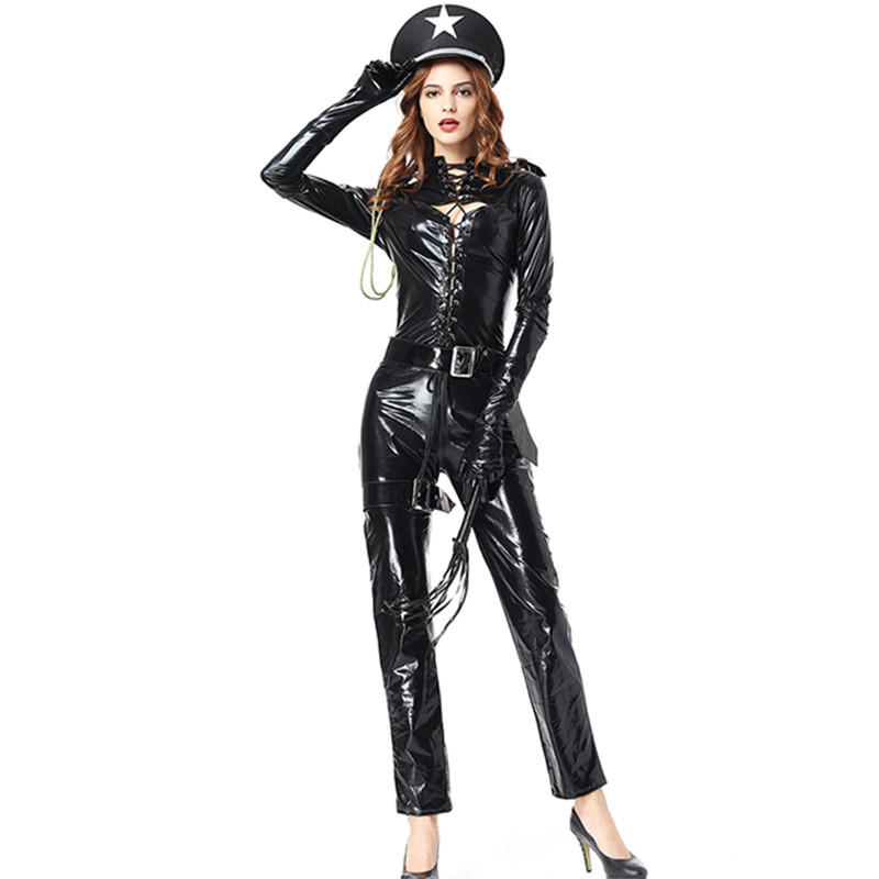 New Black Women's Cosplay Costume Sexy Wet Look Faux Leather Lace Up Front Long Sleeve Cop Halloween Costumes For Women