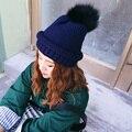 Осень зима без брим вязаная шапка мода согреться черный мяч верхний край curl теплая шапка утолщение мода леди вязание шляпа