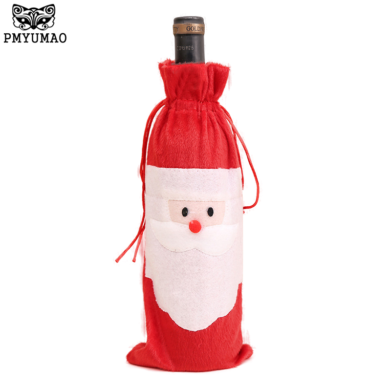 PMYUMAO 1 Piece Red Wine Bottle Cover Bags Christmas Dinner Table Decoration Home Party Decors Santa Claus Xmas D