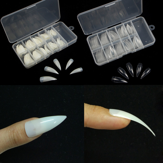 TKGOES 100Pcs/box Nail Art Natural Half Cover Oval Sharp End Stiletto Long False Fake Nails Tips Manicure Artificial Nails Salon