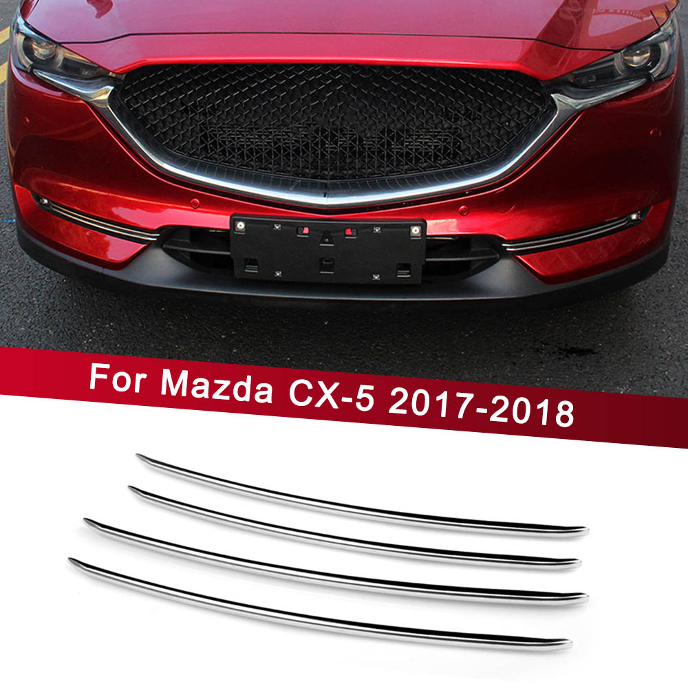 Car Front Fog Light Trim Strips decoration Cover For <font><b>Mazda</b></font> <font><b>CX</b></font>-<font><b>5</b></font> CX5 <font><b>CX</b></font> <font><b>5</b></font> <font><b>2017</b></font> <font><b>2018</b></font> <font><b>Accessories</b></font> Exterior Chromium Styling image