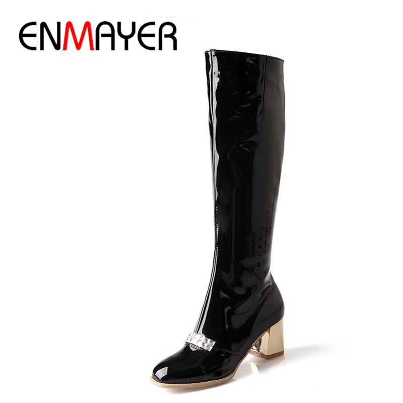 ФОТО ENMAYER New Women Knee-High Boots Round Toe Platform Zip High Snow Boots for Women Fashion Winter Wedding Long Boots 34-47