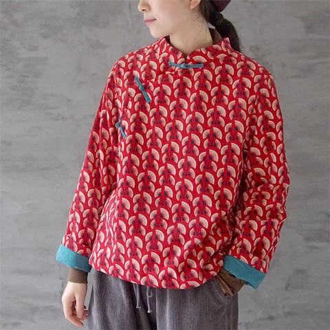 Johnature Original Corduroy New Print Chinese Style Cotton-padded Jackets 2019 Winter Stand Collar Patchwork Women Jackets Pakistan