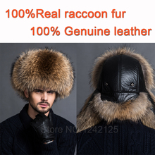 New parent-child men female winter warm Noble real genuine leather top Whole fox fur hat Gift ear Earmuff raccoon fur hat cap