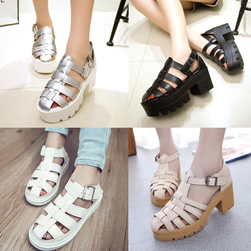 4e2a589b0aa90 Open Toe Caged Summer Women Sandals Black Leather Peep Toe Flats Platform  Shoes High Heels Chunky Thick Heel wedges shoe ew3127-in Women s Sandals  from ...