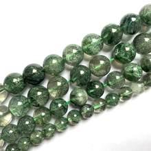 Grânulos de pedra de cristal verde redondo grânulos de pedra de gema natural diy grânulos soltos para fazer jóias strand 15