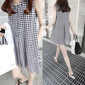 Plaid Vest Cotton Maternity Dresses Clothes For Pregnant Women Clothing Lactation Pregnancy Wear Gravida Sleeveless Summer
