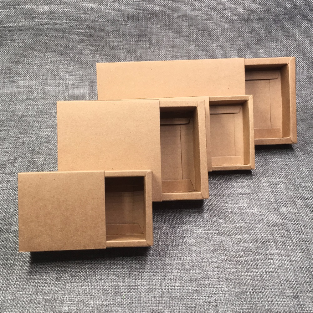 Image 4 - 24pcs Kraft Paper Drawer Boxes DIY Blank Gift boxes for GiftHandmade SoapCraftsJewelryMacaronsCandy Packing Boxes 4 Size-in Jewelry Packaging & Display from Jewelry & Accessories