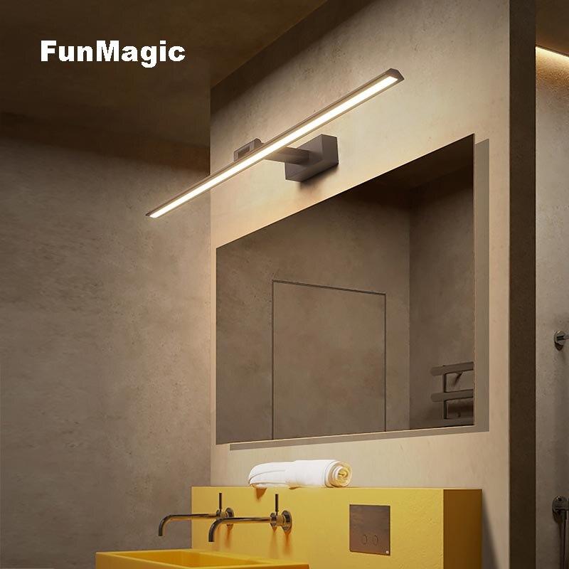 Brief Modern Brushed Aluminum LED Wall Lamp Waterproof Bathroom Toilet Vanity Front Mirror Light Wall Mounted Dresser Lighting