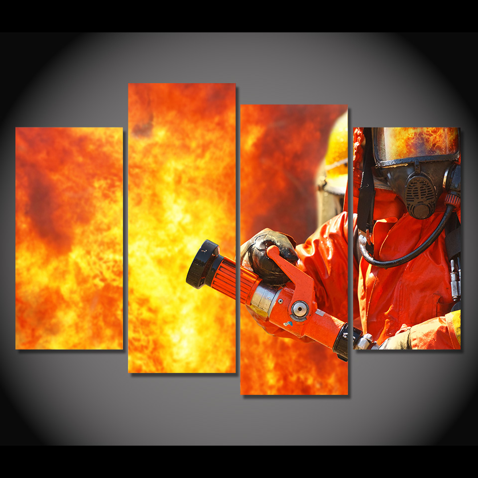 4 Teile/satz Gerahmte HD Gedruckt Raging Flamme Feuerwehr Silhouette ...