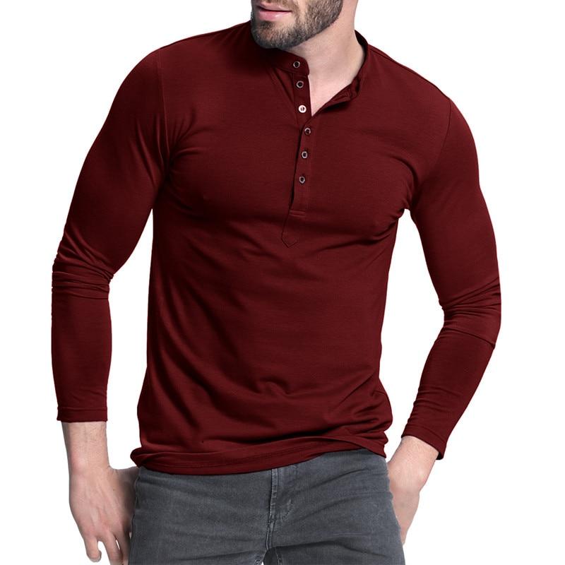 Men 39 s henley shirt 2017 popular design tee tops long for Long sleeve t shirts design