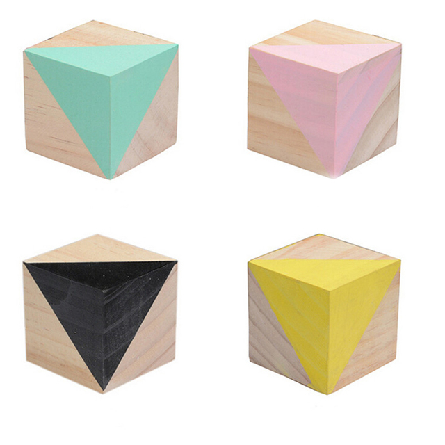 INS Nordic Style Block home decoration accessories Ornaments Children Room Wood Ornaments Home Decor Photography Props Figurines 3