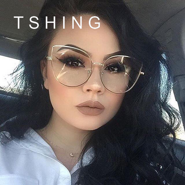 TSHING Fashion Cat Eye Optical Eye Glasses Women Men Clear