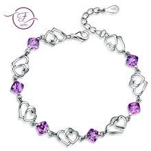 Браслеты для женщин ювелирные изделия 925 пробы серебро натуральный Фиолетовый аметист Двойное сердце любовь свадьба обручение Рождественский подарок