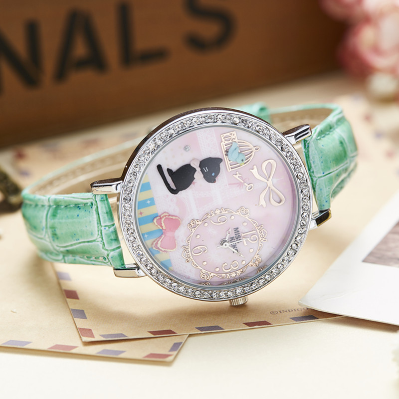 3D Clay Cute Mini World Golden Retriever Rhinestone Watches Relogio Feminino Ladies Women Leather Wristwatches 1059