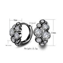 Seanlov Silver Color Small Hoop Earrings Round Style AAA Austrian Clear Zircon For Women Fashion Black Gun Earring Jewelry